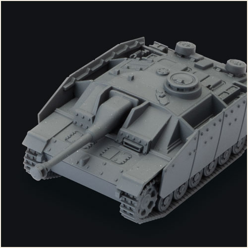 Detailed plastic miniature of StuG III G Tank for playing World of Tanks