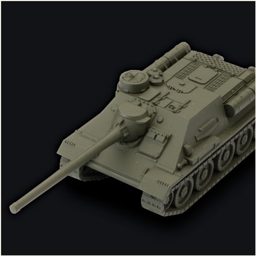 Detailed plastic miniature of SU-100 Tank for playing World of Tanks